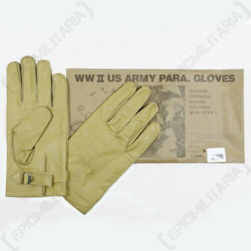 WW2 US Leather Cowhide Airborne Yellow Rigger New American Paratrooper Gloves