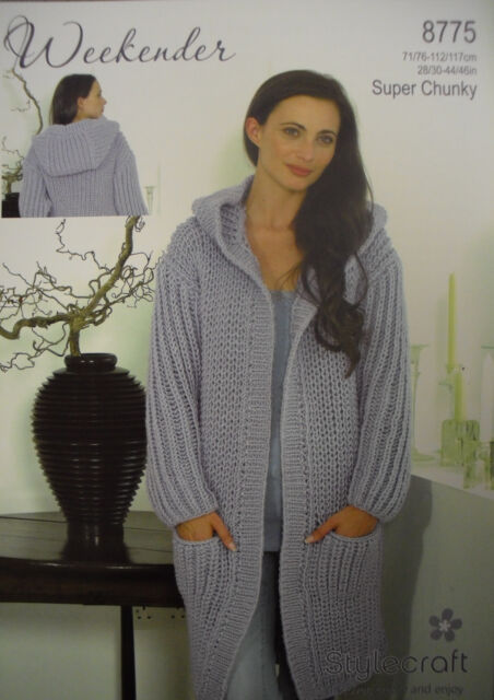 Ladies Long Hooded Cardigancoat Knitting Pattern Stylecraft 8775
