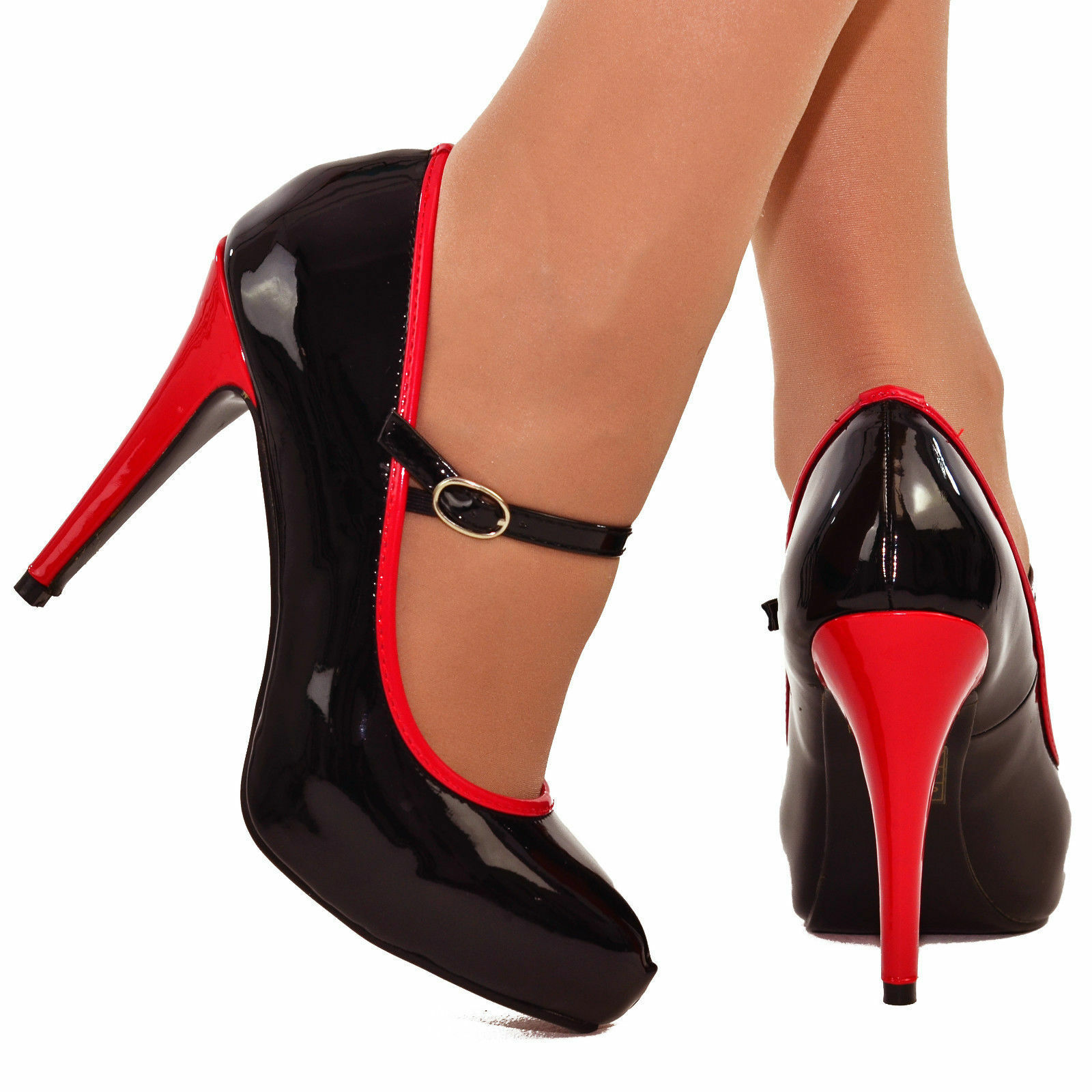 LADIES BLACK RED MARY JANE HIGH STILETTO HEEL FULL TOE COURT SHOES SIZES 3-8