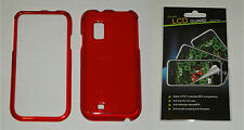 Red Hard Plastic Case & Screen Protector For Samsung Fascinate i500