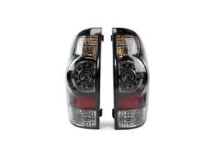 For 2005-2015 Tacoma Pickup Truck Tail Light Lamp LED Clear Black Bezel Pair Set