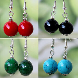05bc77d16 Image is loading Beautiful-Elegant-Round-Turquoise-Tibetan-silver-plated- Earrings-