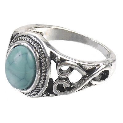 Vintage Tibetan Silver Man-made Turquoise Moonstone Ring Women Men Jewelry 6-10