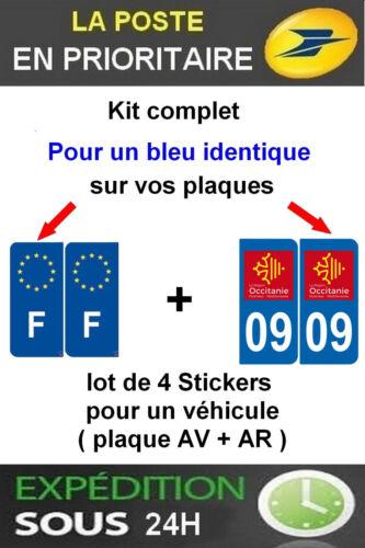 F PLAQUE IMMATRICULATION DEPARTEMENT 09 OCCITANIE 4 STICKERS LOGO REGION