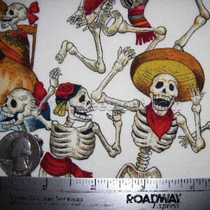Alexander-Henry-FIESTA-DE-LOS-MUERTOS-Natural-Cotton-Fabric-YARD-Day-of-the-Dead