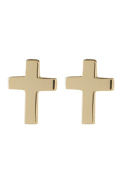 Argento Vivo NEW 18K Gold Plated Sterling Silver CROSS Stud Earrings NWT GIFT!