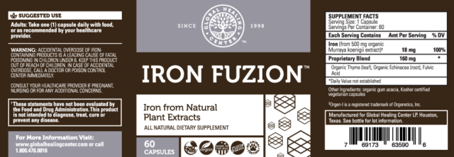 Global Healing Center Iron Fuzion Supplement From Natural Plant Extracts  With -