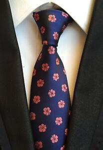 Men-Classic-Navy-blue-Floral-Silk-Tie-Necktie-JACQUARD-Neck-Ties-Wedding-Gift
