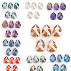 10-Faceted-Crystal-Glass-Teardrop-Spacer-Loose-Beads-Fashion-Jewelry-Making-18mm
