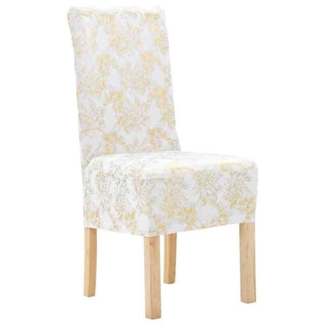 Vidaxl 4x coprisedia Elasticizzato Bianco Stampa dorata Lavabile Fodera sedie