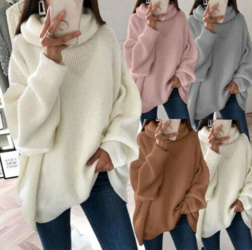 Women/'s Winter Long Oversized Sweater Turtleneck  Knit Tunic Warm Sweater Tops