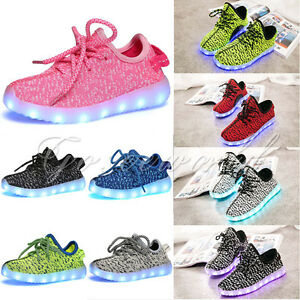 SAGUARO Mens Womens Kids LED Luminous Light up Shoes Casual Sportswear Sneakers