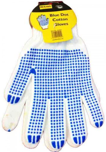 Mechanix 45//294 Blue Dot Grip White Cotton Grip Gloves One Size Fits Most Adult