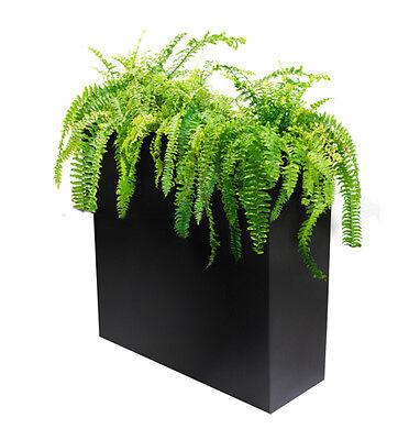 Black Zinc Tall Planter w Insert Plant Pot Modern Trough Veg Garden Grow Box