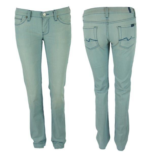 7 SETTE PER TUTTI SOPRA Jeans Donna Gamba Diritta lavare NYD SKY LUCE BLU NUOVO