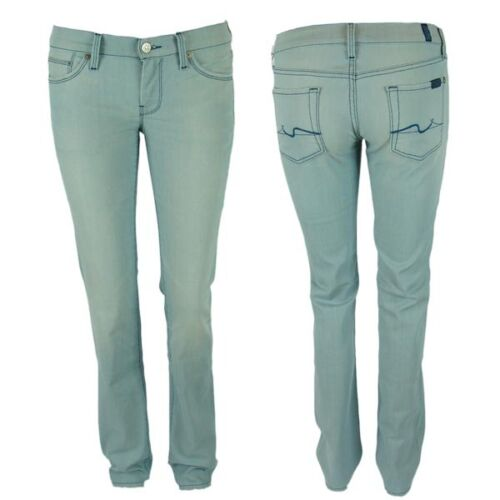 7 Seven for all Mankind Women's Jeans Straight Leg Wash Nyd Sky Light Blue New