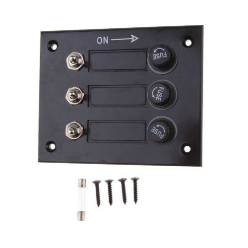 3 Gang Switch Panel Fused Marine Rocker switch Panel for Boats Car 12V