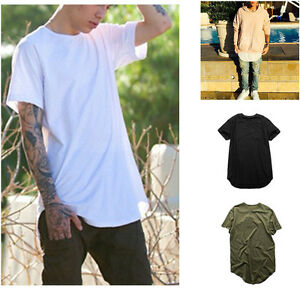 Mens-Long-Tail-Tee-Short-Sleeve-Loose-T-Shirts-Tops-Casual-Tops-Blouse-Tee-97K