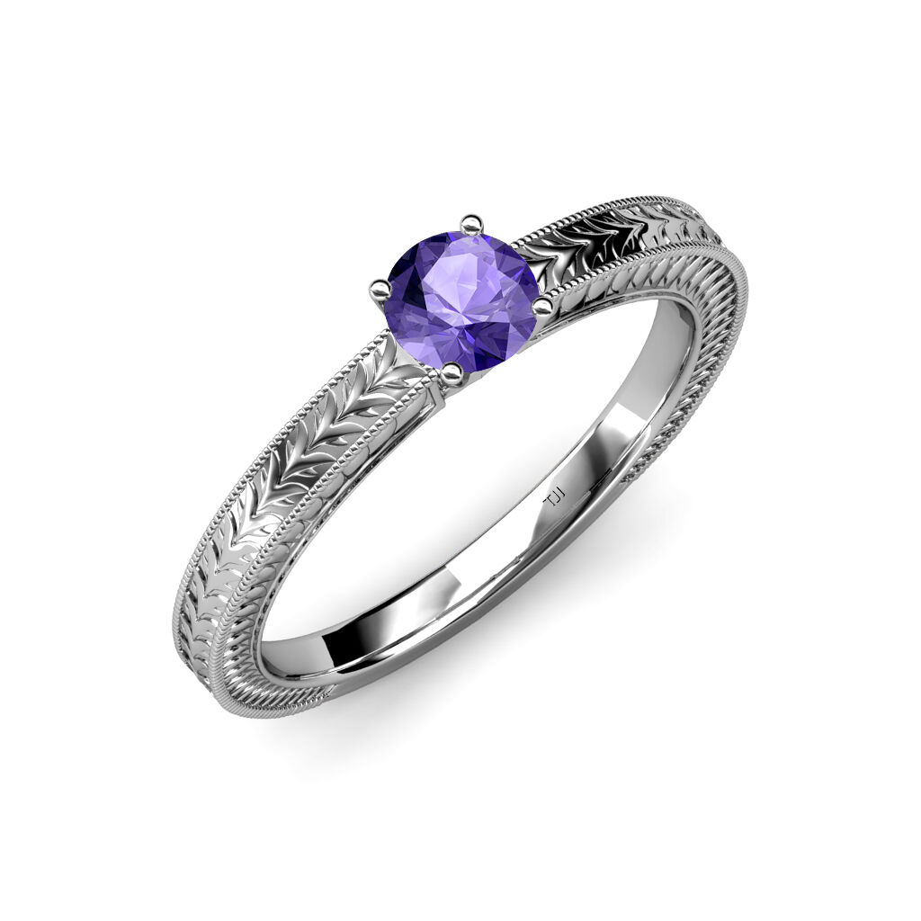Iolite Engraved Solitaire Engagement Ring with Milgrain Work 0.95 ct in 14K gold