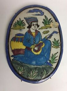 Large-Vintage-Hand-Painted-Oval-Art-Pottery-Hanging-Wall-Tile-Man-with-Guitar