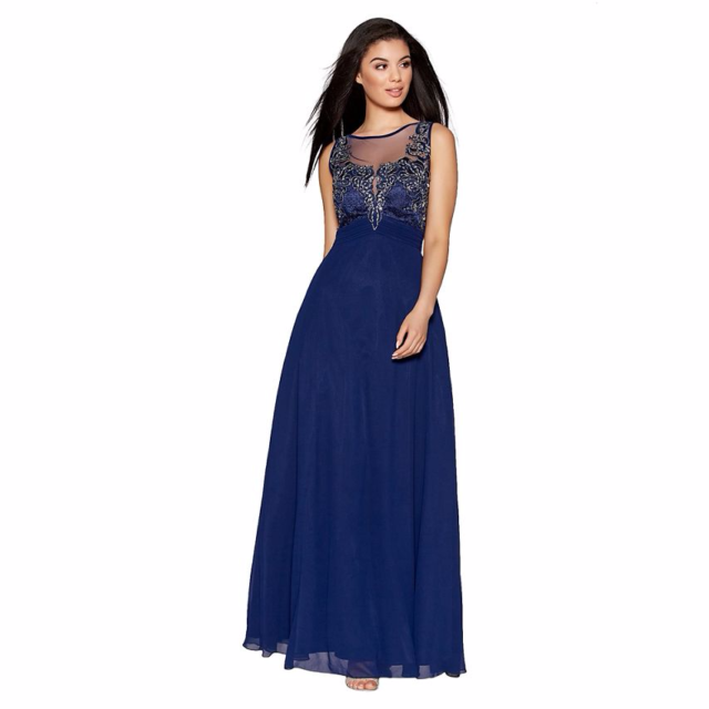 ea5c786decf Quiz Navy Chiffon Embellished High Neck Tulle Maxi Dress Size UK 8 LF079 FF  11