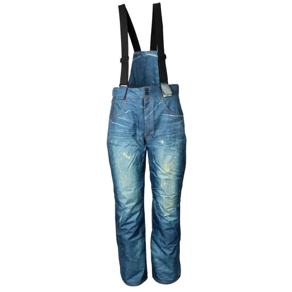 Men's Hiking Ski Outdoor Pants Winter Snow Cotton Liner Jeans Salopettes