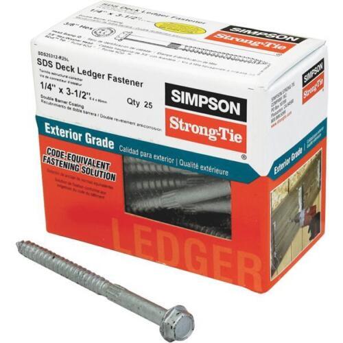 """Simpson Strong-Tie 1//4/"""" Dia X 3-1//2/"""" Long SDS Deck Screw 25//Pk SDS25312-R25L"""