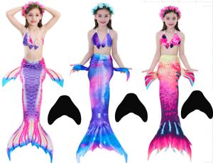 Kids Girls Swimear Mermaid Tail Swimmable Swimming Bikini With Monofin Flippers