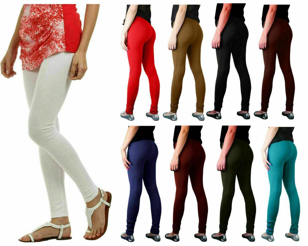 Nouveau Femme Coton Leggings Pleine Longueur Toutes Les Couleurs Coupe Skinny Taille Uk 8 -26