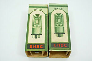 MATCHED-PAIR-6N8S-6SN7-1578-MELZ-TUBES-TESTED-BY-ROETEST-V10-NOS-DATE-1956