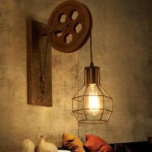 Retro-Luminaire-Suspendu-Murale-Plafonnier-Poulie-de-Industrielle-lampe