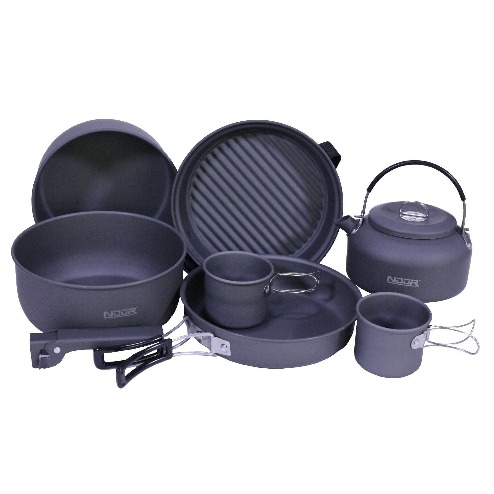 Cookware 9 Piece Mess Kit  w Kettle Even Heat Lightweight Carry Pouch Easy Clean  supply quality product
