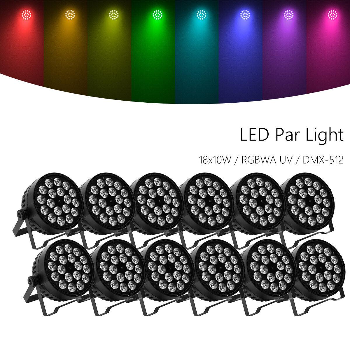 12pcs 18x10W Stage Par Light RGBWA UV 6in1 LED DMX512 Par64 Wash Lighting Party