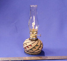 "Paiute Indian Beaded Glassware Oil Lamp  3 1/4"" x 8 1/4"""