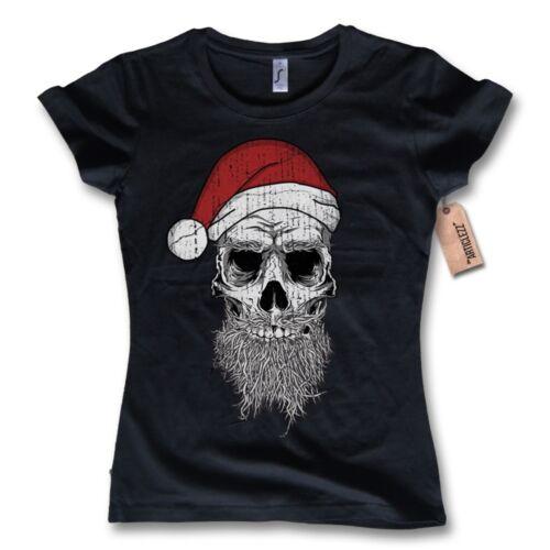 Damen T-Shirt X-MAS SKULL Weihnachtsmann Bad Santa Totenkopf Weihnachten