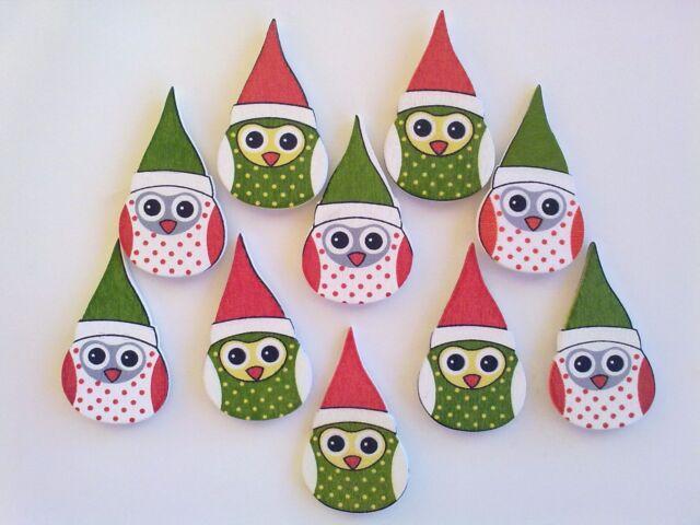 10 Mr & Mrs Wise Owl Christmas Embellishments / Adornos de Búho Navidad