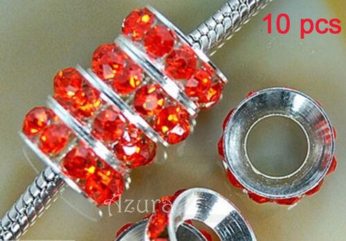 fit bracelets charme européen 10mm Cristal Strass Rondelle Espaceur Perles
