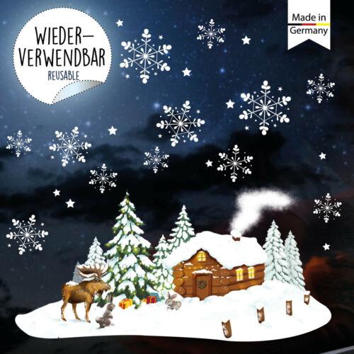 Fensterbild Winter Weihnachten Winterhaus Elch Schneeflocken wiederverwendbar