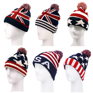 3ed0af5b1f5b5 TrendsBlue Premium Unisex Warm Knit USA UK Flag Beanie Hat- Diff ...