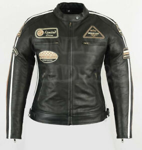 veste en cuir moto femme vintage cafe racer leather jacket blouson rocker ebay. Black Bedroom Furniture Sets. Home Design Ideas