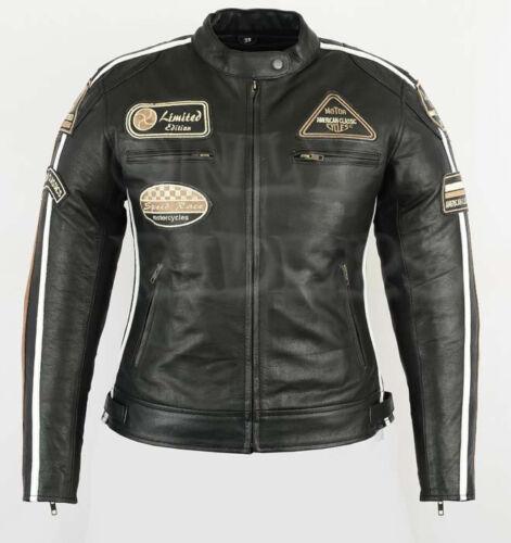 Vintage Veste En Cuir Moto Femme Rocker Cafe Racer Retro Taille 36 a 48