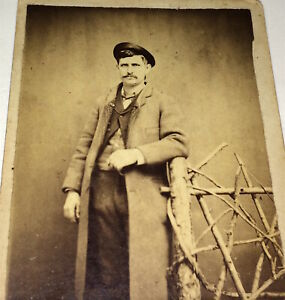 Antique-Victorian-American-Tough-Gent-Long-Coat-York-Springs-PA-CDV-Photo-US