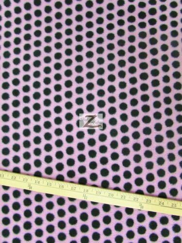 "60/"" WIDTH SOLD BTY 710 POLKA DOT PRINT POLAR FLEECE FABRIC Pink//Black Dots"