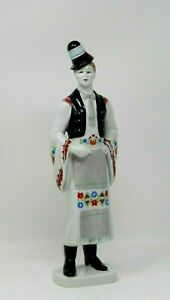 Vintage-Hollohaza-Hungary-Porcelain-Matyo-Man-Figurine-Hand-Painted-Folk-12-034