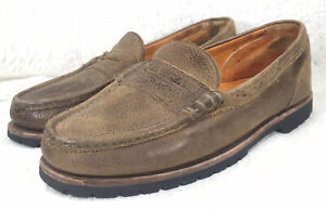 Timberland-Penny-Loafers-Mens-Leather-Brown-Distressed-Comfort-Slip-On-Size-12