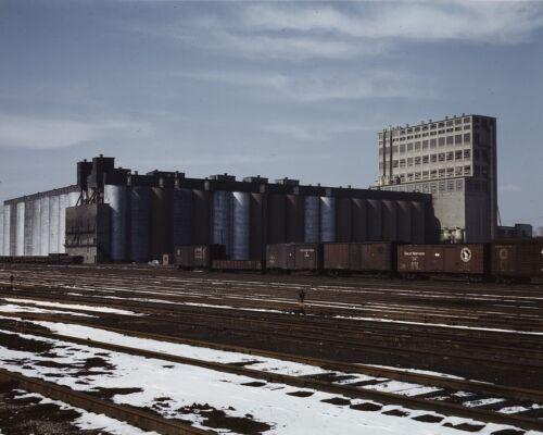 Santa Fe Railroad 10-million bushel grain elevator in Kansas 1943 Photo Print