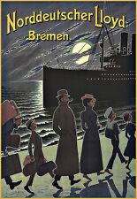 Art Ad Norddeutscher Lloyd Bremen  Ship Cruise Travel  Deco  Poster Print