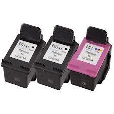 3 Remanufactured Ink Cartridges for HP 901XL 2x Black CC654AN + 1x Color CC656AN