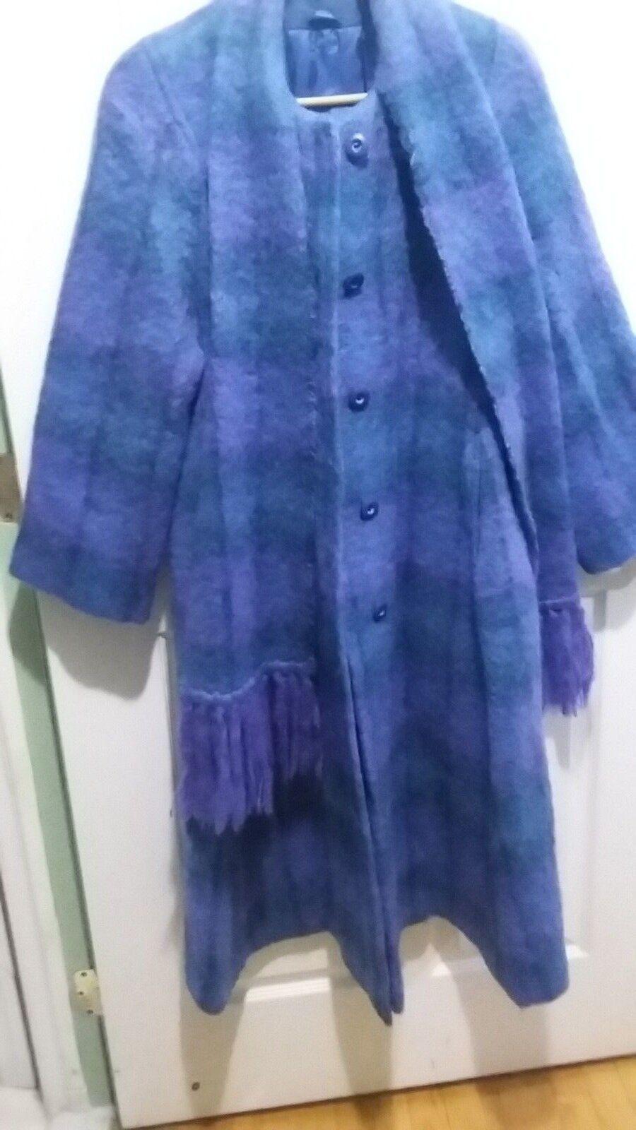 Vtg Donegal Ireland long bluee plaid mohair coat scarf sz L mint