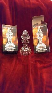 "Set Of 2 Beautiful Holiday Elegance Lead Crystal 8"" Nutcracker Candlesticks"